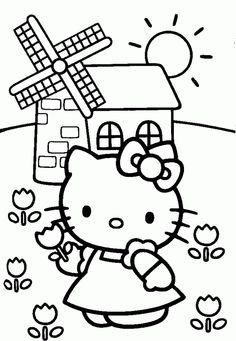 hello-kitty-kleurplaat-windmolen
