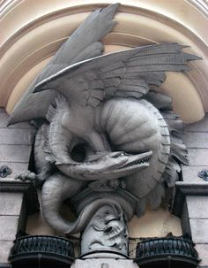 Dragon Stone guards the entrance to Black Water Bay - spotted in Copenhagen Dragon Statue, Dragon Art, Gothic Architecture, Architecture Details, Fantasy Creatures, Mythical Creatures, Statues, Dragon Oriental, Sculpture Art