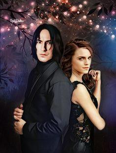 Snape And Hermione, Severus Snape, Fanart, Harry Potter, Fandoms, Color, Black, Lineup, Colour