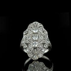 Original Edwardian Platinum Diamond Dinner Ring