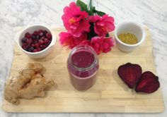 Beet-Berry Smoothie Beets, Smoothies, Berries, Pudding, Chicken, Desserts, Recipes, Food, Smoothie