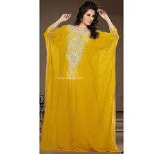 Looking Amazing With Attachment Of Yellow Faux Georgette Fashionable Arabic Kaftan