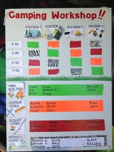 Camping Kaper chart for brownie get ready to camp workshop