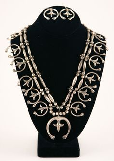 Squash Blossom Necklaces - Navajo Silver Naja Necklace with Matching Earrings