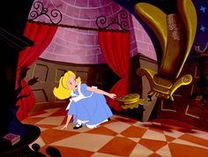 Vintage Disney Alice in Wonderland: Alice at the bottom of the Rabbit Hole Animation Drawing