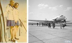 Po lewej stewardesy w letnich mundurach, lot do Egiptu, rok 1974 (fot. archiwum prywatne Małgorzaty Nowotnik). Po prawej Okęcie w roku 1955 (fot. nac.gov.pl)