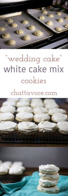 These wedding cake white cake mix cookies are sweet, buttery, and almond-flavored. They taste just like the cakes at Federal Bake Shop, my favorite bakery! | recipe from Chattavore.com