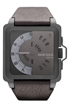 DIESEL® Rotating Dial Leather Strap Watch