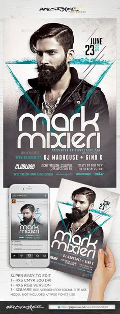 DJ Flyer Template — Photoshop PSD #vegas #miami • Available here → https://graphicriver.net/item/dj-flyer-template-/11572206?ref=pxcr
