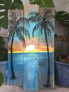 Beach Palm trees Sunset CUSTOM sign Large Palm trees, ocean, sunset, Rustic wood sign, beach w – Wooden decorations Wood Pallet Art, Pallet Painting, Painting On Wood, Diy Wood, Rustic Painting, Wood Paintings, Sign Painting, Rustic Wood Signs, Rustic Wall Decor