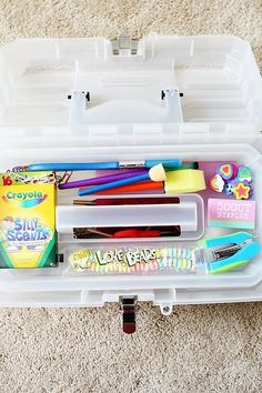 Fishing tackle box turned kids craft box! Simple yet awesome