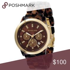 7a589cdba27 •Michael Kors• Woman s Tortoise Watch Striking style by Michael Kors. This  watch features