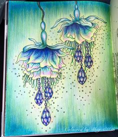 The jewelled flowers from #sommarnatt by #hannakarlzon used FC Polychromos…