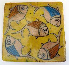 persian-ceramic-tile-yellow-fish-4X4 | Flickr - Photo Sharing!