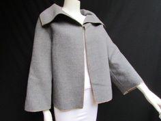 Gray Wool Caban Jacket Gold Metal Studs Valentino Boutique Women Fashion 10/44