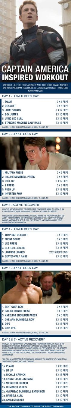 (Click through to download PDF!) Work out like the first avenger, Captain America, with this Chris Evans inspired workout program. Read more to learn how you can transform your physique!
