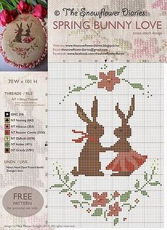 The Snowflower Diaries - Spring Bunny Love, free cross stitch chart Free Cross Stitch Charts, Cross Stitch Freebies, Mini Cross Stitch, Cross Stitch Animals, Counted Cross Stitch Patterns, Cross Stitch Designs, Cross Stitch Embroidery, 8bit Art, Easter Cross