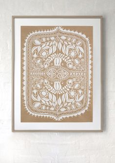 White print on recycled kraft paper. Hand silk screen printed Polish folk art