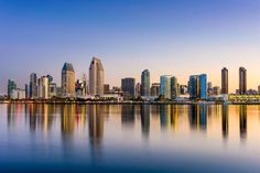 Photo about San Diego, California, USA downtown skyline at the Embarcadero. Image of california, dawn, coronada - 67963514 San Diego Skyline, San Diego City, San Diego Travel, San Diego Downtown, Images Of California, California City, Southern California, California Travel, Reflection Photography