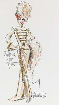 """Costume design by Bob Mackie for Lucille Ball, """"Catherine The Great"""" on the """"Carol Burnett Show"""" Costume Design Sketch, Sketch Design, Dress Sketches, Fashion Sketches, Fashion Illustrations, Fashion Drawings, Art Sketches, Bob Mackie, Theatre Costumes"""