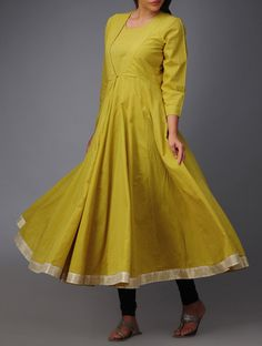 #Lime #Green #Anarkali #Cotton #Kurta #Mughal