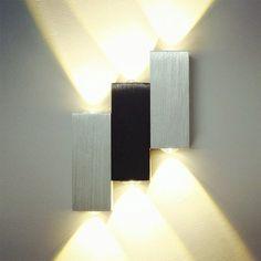 Deckey Lampada Da Parete Applique LED Luce Up Down 6W Lampada Interno Da Muro Luce Effetta Per Casa Bar Party Disegno Moderno (Bianco Caldo)
