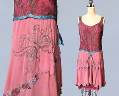 RESERVED Rare 1920s Dress / 20s Metallic Lace BEADED and Rhinestoned Flapper Dress / Gold LAME / Pink!