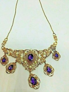 """LADIES 15-17"""" VICTORIAN AMETHYST & SEED PEARL NECKLACE 14KT YELLOW GOLD   eBay Pearl Brooch, Pearl Necklace, Victorian Gold, Gold Art, Gold Chains, Amethyst, Pendants, Pearls, Yellow"""