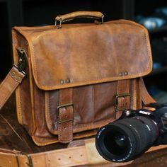 Vintage Kipling Leather Camera Bag, Padded for up to 3 Lenses, Camera Body, Ipad, and Accessories