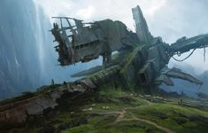 Quiet Day by Sergey Vasnev Fantasy Art Landscapes, Fantasy Landscape, Environment Concept Art, Environment Design, Photo Wallpaper, Wallpaper Backgrounds, 1080p Wallpaper, Science Fiction, To Infinity And Beyond