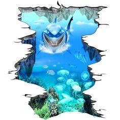 revêtement sol fond marin trompe l'oeil effet 3D sur mesure le requin
