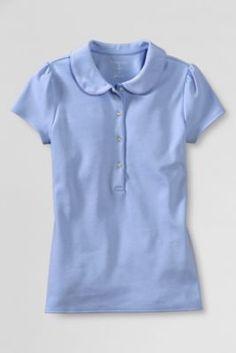 c9bd3e0a4b6e67 School Uniform Short Sleeve Knit Peter Pan Polo Shirt from Lands' End  Quality T Shirts