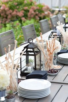 Lantern & bread stick table setting