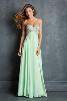 2014 Prom Dresses A Line Sweetheart Floor Length Chiffon Cheap Color Mint