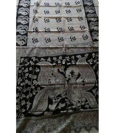 Black And White  Pure Handloom Kalamkari Cotton Saree