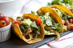 Seared Pepper Tacos with Pintos and Avocado Crema