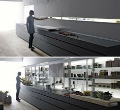 Sleek Self-Contained Kitchen Design Disguises Clutter Stephanie, dornob.com  Everything you need in a kitchen, from appliances to cooking implements, is at your fingertips – yet quickly out of sight – in this smart all-in-one kitchen design. The Logica Kitchen System by Italian kitchen company Valcucine offers a place for…