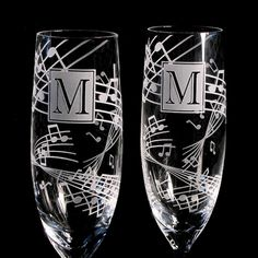 Music Themed Wedding Champagne Flutes, Fine Crystal, Engraved and Personalized. $74.00, via Etsy.