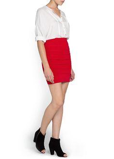 MANGO - CLOTHING - Skirts - Striped texture knit skirt