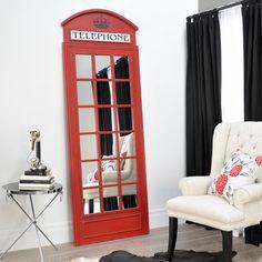 Red British Phone Booth Mirror