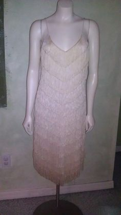 Vintage 1970s Does Flapper Dress Cream V Shaped by Jillsjewelsfl