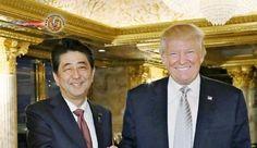 Trump convida Abe para reunião em 10 de fevereiro, na Casa Branca. O primeiro-ministro do Japão, Shinzo Abe, conversou ao telefone com o presidente dos EUA