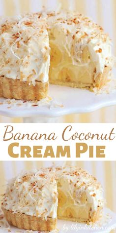 Just like Grandma's Banana Coconut Cream Pie. Take this to your next family reunion and you'll be the star! Just like Grandma's Banana Coconut Cream Pie. Take this to your next family reunion and you'll be the star! Banana Coconut Cream Pie Recipe, Easy Banana Cream Pie, Cream Pie Recipes, Banana Cream Desserts, Biscoff Cookie Butter, Butter Pie, Vegan Butter, Peanut Butter, Banoffee Pie