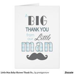 Little Man Baby Shower Thank You Card Mustache