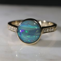 Natural Australian Boulder Opal and Diamond Gold Ring - Size 7 Code -GR712 10k Gold Ring, Gold Diamond Rings, Opal Rings, Gold Rings, Gemstone Rings, Natural Opal, Natural Diamonds, Gold Ring Designs, Opal Color