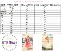 Tutu Size Chart: Waisy, Tea Length and Full Length Tutu  Measurements (For Newborn to 5 years)