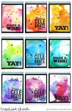 handmade Watercolored Birthday Cards from shurkus.com ... panel of bright watercolor wash on black background ... big, bold words stampin in black ...