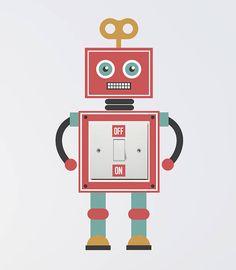 robot light switch wall sticker by oakdene designs | notonthehighstreet.com