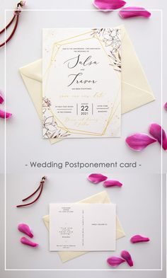 Keep your wedding guests informed of your plans, so that they can save your new date #postponecards #postponewedding #postponeweddingcards