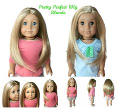Our Pretty Perfect girl doll wig in Blonde and Blonde with Highlights. Can be glued for a center or side part.